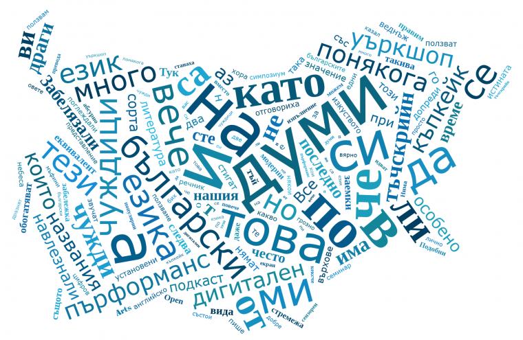 облак от думи оформен в карта на България