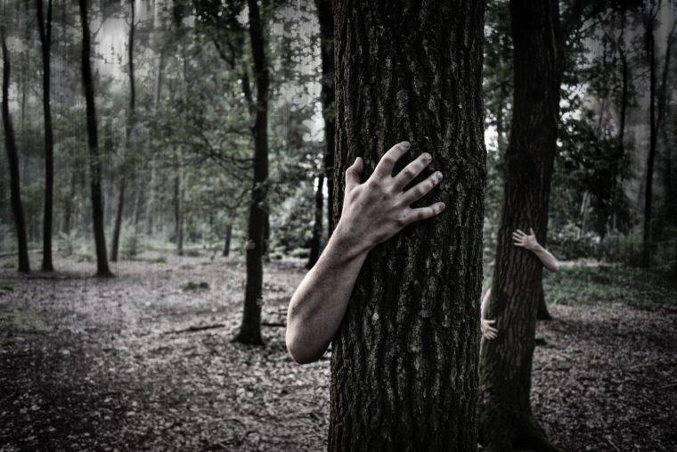 помощ - ръка излизща иззад дърво