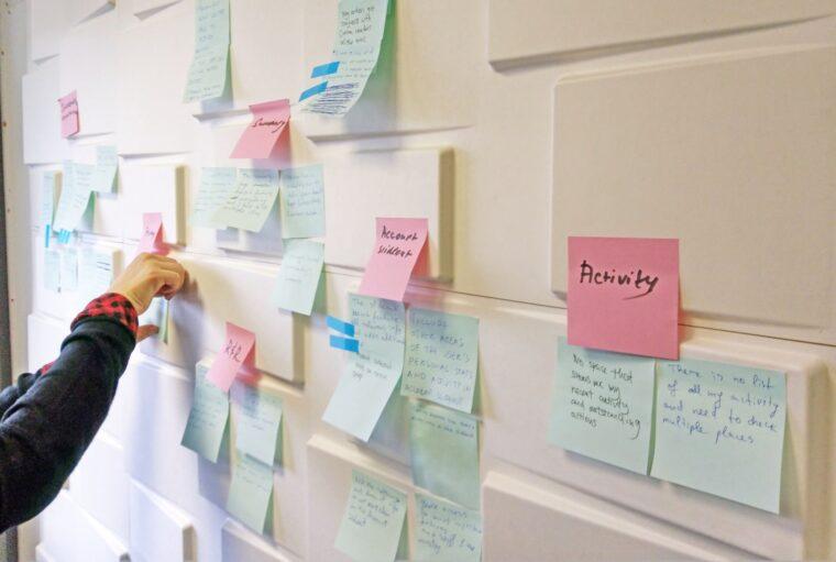 sticky notes on a workshop