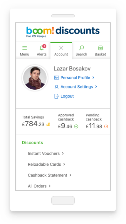 account slideout with discounts
